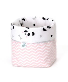 Petite panière Un, deux, trois, PANDA ! rose pastel (pandas noirs et gris, noeuds pastels et triangles noirs)
