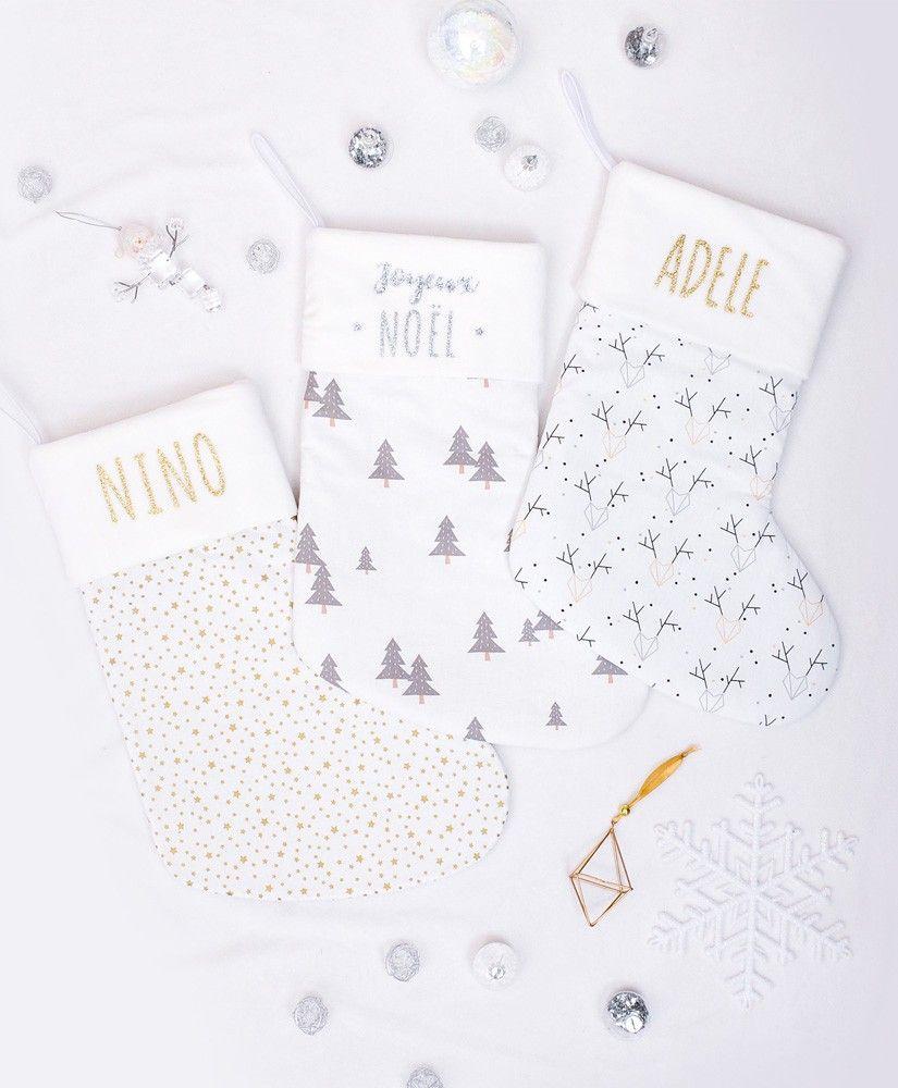 Chaussettes de Noël personnalisables (tissu au choix)