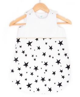 Gigoteuse Rock Star (blanc avec étoiles noires et passepoil doré) personnalisable