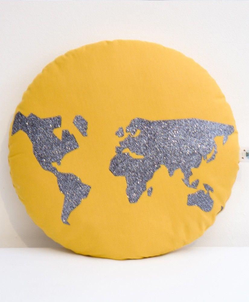 coussin world (jaune et mappemonde anthracite) - kideco créations
