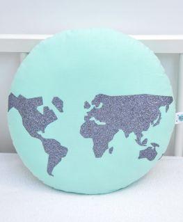 Coussin World (vert d'eau et mappemonde gris anthracite)
