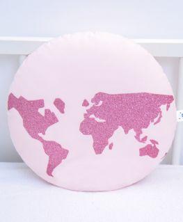 Coussin World (rose pastel et mappemonde rose pailletée)