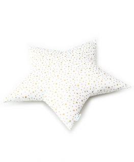 Coussin étoile blanc et or (coton blanc à étoiles dorées métallisées) personnalisable