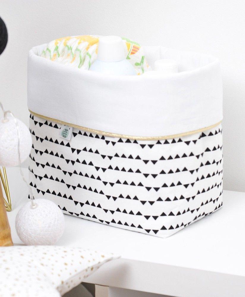 Grande panière Imagine (blanc, triangles noirs et passepoil doré)