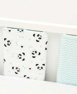 Housses de protection de barreaux Un, deux, trois, Panda! mint (3 barreaux)