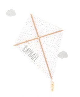 Cerf-volant décoratif blanc à pois argentés légèrement métallisés (tissu au choix) personnalisable