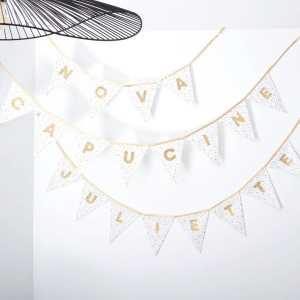 """[REVE ETOILE] . Cette délicate guirlande aux touches dorées, iconique de ma petite marque! . ◾️Guirlandes """"Rêve étoilé"""" dorées personnalisées NOVA, CAPUCINE & JULIETTE . Infos & tarifs sur l'e-shop www.kideco.fr (lien dans la bio) . Belle soirée! . #kideco_creations #babyshop #nursery #decobebe #chambrebebe #babyroom #kidsroom #chambrenfant #guirlande #fanion #bébé #babybump #decoration #annoncegrossesse #grossesse #pregnancy #pregnancyannouncement #mumtobe #futuremaman #dadtobe #futurpapa #cadeaudenaissance #estyfr #faitmain #handmade #madeinfrance"""